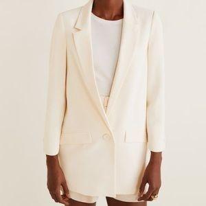 Mango Structured Crepe Blazer Jacket